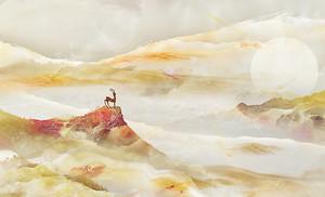 Олень на гребне горы