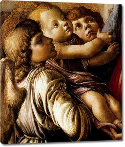 Боттичелли. Мадонна с младенцем и двумя ангелами (фрагмент)