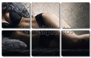 Молодые сексуальные тела над ретро-фон