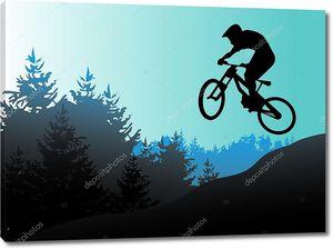 Горный велосипед и байкер в векторов действия