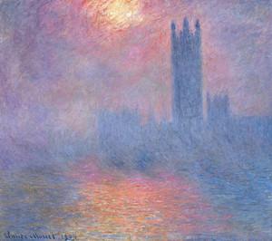 Клод Моне. Солнце пробивается сквозь туман. Здание парламента
