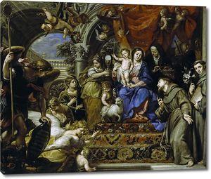Коэльо Клаудио. Мадонна с Младенцем, окруженная христианскими Добродетелями и святыми