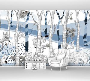 Woodland-голубой лес с животными