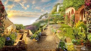Дорога вдоль маленьких домов в цветах