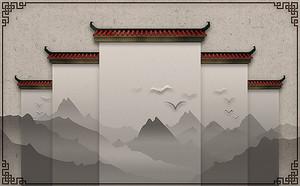 Горы с силуэтами пагод
