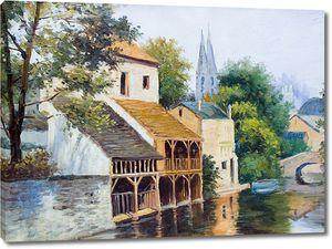 Милые домики рядом с рекой