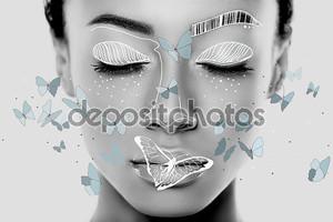 Африканская девушка с бабочками