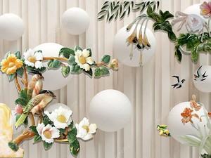 Белые шары, цветущие ветви с сидящими попугаями
