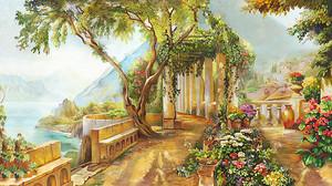 Живописная терраса с цветами и колоннами