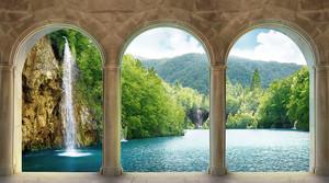 Вид на водопад из аркады