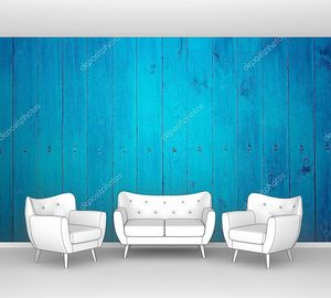 Синий деревянный забор