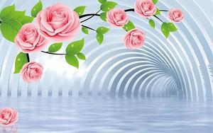 Туннель, большие розовые розы