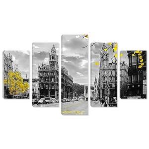 Постеры с видом на город и ярким желтым акцентом