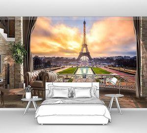 Вид с балкона на Эйфелеву башню