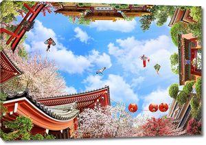 Вид с японским садом и облаками