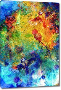 Певчие птицы на фоне абстрактных пятен