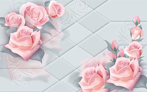 Бутончики роз на кафеле