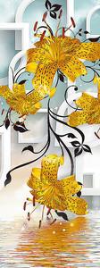 Ветка лилий и ее отражение