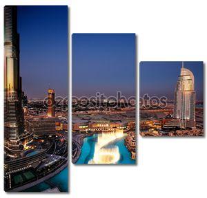 впечатляющий Дубай, танцы фонтан в сумерках