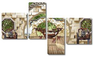 Терраса, Сад, Садовая мебель, птицы, деревянный пол