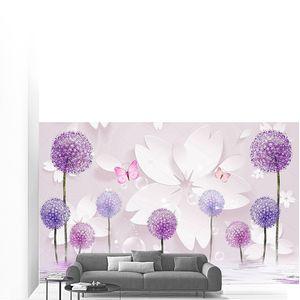 Цветы  из белой бумаги, розовые бабочки, красочные одуванчики, отражение в воде