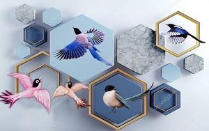 Разноцветные шестиугольники и птицы