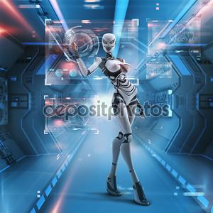 футуристический женский андроид