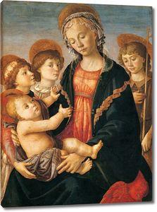 Боттичелли. Мадонна с млад, двумя ангелами и юным Иоанном Крестителем