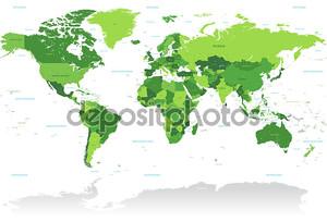 Карта мира Vctor зеленый