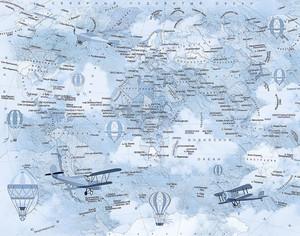 Карта детская с самолетами в голубом исполнении