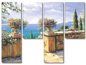 Прекрасная терраса с разноцветными цветами