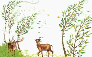 Пара оленей в листопад