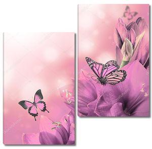 Фиолетовые лилии с бабочками