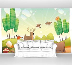Животные в  мультяшном лесу