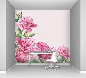 Розовые пионы акварелью