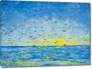 Закат в море, птицах в небе