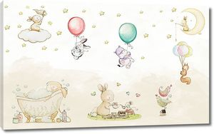 Зайчики и белочки с шариками