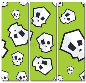 Бесшовный узор вектор с смешной мультфильм череп. Шаблон для Хэллоуина