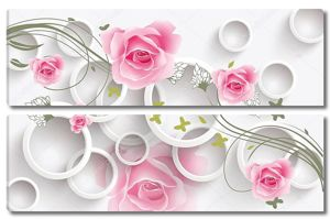 Белые кольца и большие бутоны роз