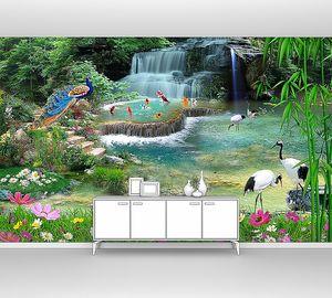 Павлин с журавлями у водопада