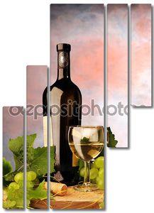 Натюрморт с вином и виноградом
