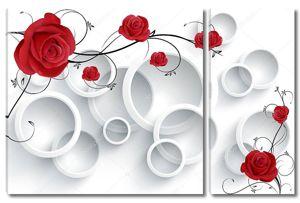 Белый фон с белыми кольцами и красными розами