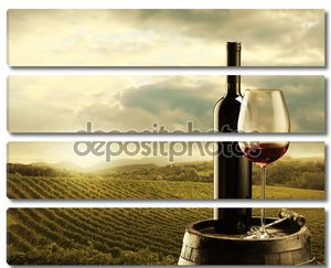Вино на бочке на закате