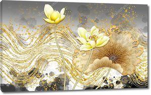 Золотые волнистые линии, большие желтые лотосы