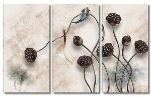 Коробочки лотоса на мраморной стене