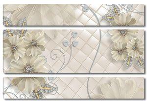 Белые цветы с голубыми завитками