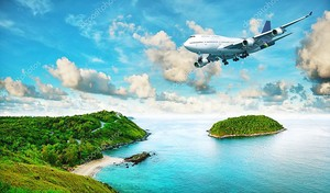 Реактивный самолет над тропическим островом