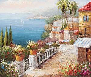 Цветочная терраса с видом на реку