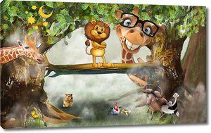 Львенок и жираф в очках в лесу