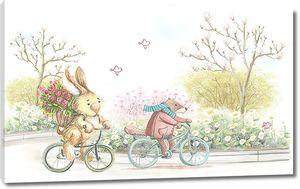 Заяц и бобер на велосипедах